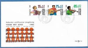 NETHERLANDS ANTILLES 1982 MUSIC Semi Postal Set Cachet FDC Sc B200-B202