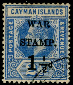 CAYMAN ISLANDS SG54, 1½d on 2½d dp blue, FINE USED.