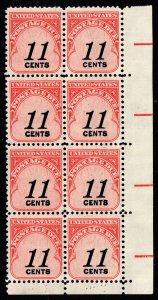 US STAMP #J102 – 1978 11c Postage Due Stamp MNH/OG BLK OF 8