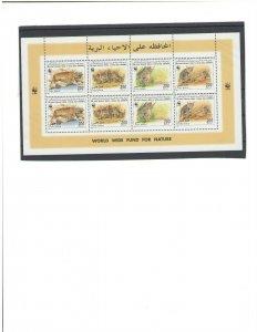LIBYA: #02 / Beautiful**WWF- SAND CAT ** / 2 Strips of 5 in Sheet  / MNH
