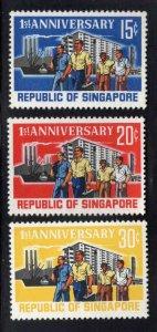 Singapore MNH** 1st Anniversary stamp set Scott 73-75