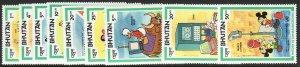 1984 Bhutan Disney World Communications set MNH Sc# 397 / 405 CV: $7.75