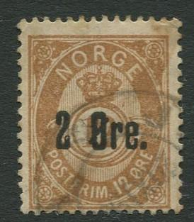 Norway - Scott 46 - Post Horn & Crown-Overprint - 1888 - Used- Single 2o Stamp