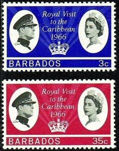 BARBADOS - 1966 - QE II - ROYAL VISIT - MINT - MNH SET OF 2!