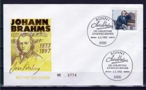 Germany, Scott cat. 1394. Composer J. Brahms issue. First day cover. ^