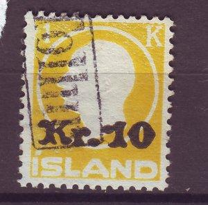 J25456 JLstamps 1924-30 iceland used #141 ovpt king revenue cancel $75.00 scv