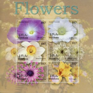 Maldives Flowers Stamps 2002 MNH Iris Daffodil Narcissus Flora Nature 6v M/S