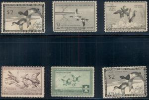$1.00 & $2.00 DUCK STAMPS GROUP OF 6 INCL. MINT, NO GUM & USED SCOTT OVER $340