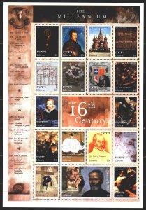 Liberia. 2000. Small sheet 2876-92. Millennium, St. Basil's Cathedral, Carava...