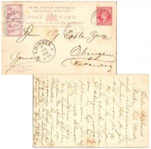 Trinidad 1/2d Brittania (2) on 1d QV Postal Card 1900 Port of Spain, Trinidad...