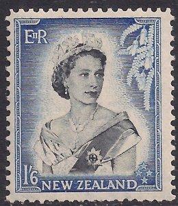 New Zealand 1953 - 59 QE2 1/-6d Black & Blue MM SG 733 ( R909 )