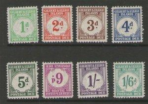 Gilbert & Ellice Islands 1940 Sc J1-8 MLH
