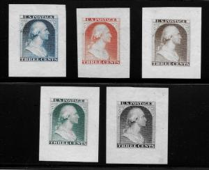 WCstamps: U.S. Scott #11-E4c / $2,000 - 1851 Gravit & Co. Complete Essay Set