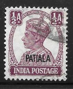 India Patiala 103: 1/2a George VI, used, VF