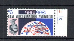 9d ITU (NON-PHOSPHOR) MOUNTED MINT CYLINDER SINGLE WITH WATERMARK INVERTED
