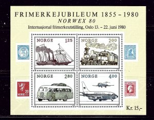 Norway 765 MNH 1980 Methods of Transporation S/S