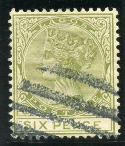 Lagos 1884 QV 6d olive-green very fine used. SG 25. Sc 26.