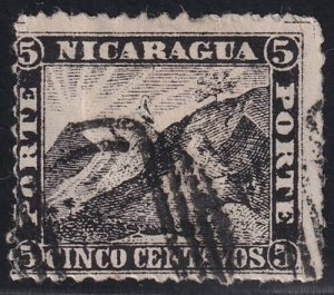 Nicaragua Stamp 1862 Liberty Cap on Mountain Peak 5C BLACK counterfeit