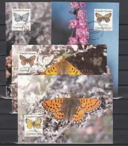 Greenland, Scott cat. 315-318. Butterflies issue on 4 Maximum Cards.
