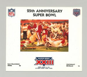 St Vincent #1422 Football Super Bowl XXIII 1v M/S of 2 Imperf Chromalin Proof