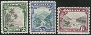 JAMAICA Scott 106-8 MH* 1932 set CV $49.55 perf 12.5