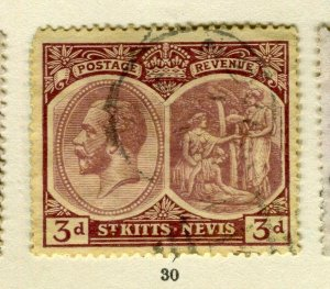 ST.KITTS; 1920s early GV issue fine used Columbus issue 3d. value