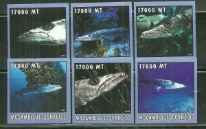 Mozambique MNH 1657A-F Fish 2002 SCV 9.50