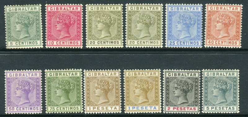 GIBRALTAR-1889-96  A lightly mounted mint set to 5p Sg 22-33