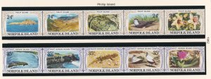 Norfolk Island # 288-289, Phillip Island Scenes, 2 Strips of 5, NH, 1/2 Cat.