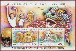 1994 CHRISTMAS ISLAND - SG: MS 388 - YEAR OF THE DOG - HONG KONG OVERPRINT - UMM