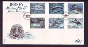 Jersey Sc 951-6 2000 marine mammals stamp set FDC