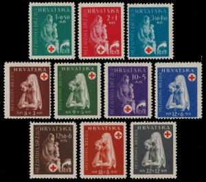 ✔️ CROATIA 1943 - RED CROSS - SC. B42/B51 ** MNH OG [CR118]