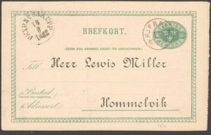 SWEDEN 1888 postcard HJERPEN cds, Railway TPO cds...........................6764