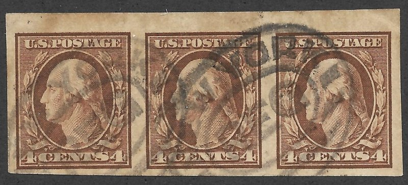 Doyle's_Stamps: Used Scott #346 Imperf Strip of 1909 Washington Definitives