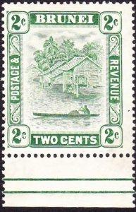 BRUNEI 1933 2c Green Gutter SG62 MH