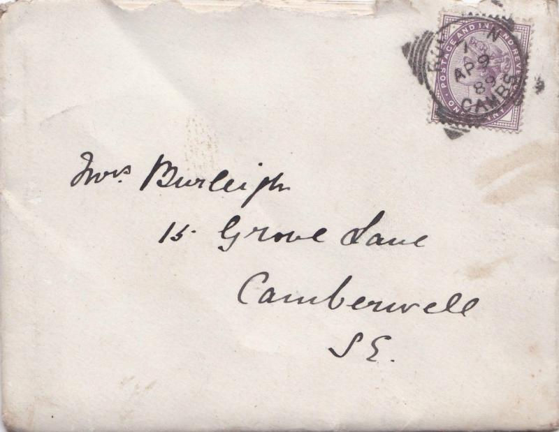 ROYSTON CAMBS - LONDON S.E. 1889 WITH LETTER ENCLOSED