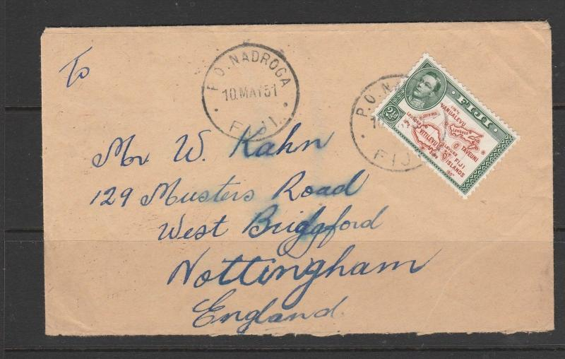 Fiji 1951 Cover GV1 2 1/2d Cancelled NADROGA, Commercial