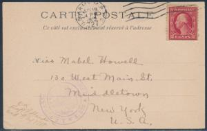 #499 ON POSTCARD USED APO 727 JUNE 19, 1919 -- FRANCE TO USA -- BT8532