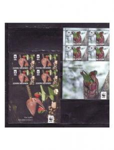 Cook Islands - Parrots 4 Stamp/4 Sheet Set  3L-001