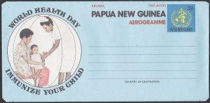 PAPUA NEW GUINEA 35t World Health Day aerogramme unused.....................L638