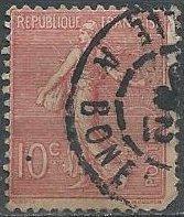 France 138 (used, pulled corner) 10c sower, rose (1903)