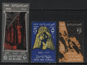 EGYPT, 590-592, (3) SET, HINGED, 1963, Queen Nafari, Great Hypostyle Hall