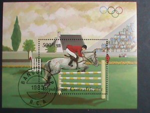CENTRAL AFRICA-1983- OLYMPIC -HORSE RIDING- CTO S/S VERY FINE PLEASE WATCH