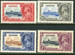 BARBADOS Sc#186-189 SG241-244 1935 KGV Silver Jubilee Complete Set OG Mint H