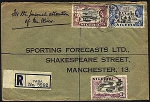 NIGERIA 1957 Registered cover to UK ex YABA...............................93427w
