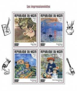 NIGER - 2017 - The Impressionist Painters - Perf 4v Sheet - MNH