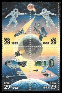 PCBstamps   US #2631/2634a Block $1.16(4x29c)Space Joint Issue, MNH, (5)