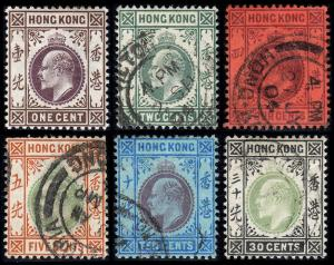 Hong Kong  Scott 71-74, 76, 79 (1903) Used/Mint H VF, CV $40.30