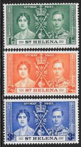 St Helena 115-117 Unused/Hinged Hinge Remnant - George VI Coronation