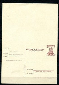 Poland 1958 Postal Stationary Card with respond other side Unused Kopernic10362